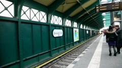 Ubahn in Berlin - train arriving - stock footage