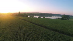 Beautiful fields  with lake and sunrise.  Aerial - stock footage