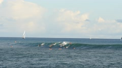 Surfing, ala moana, bowls, waikiki, honolulu, oahu, hawaii Stock Footage