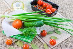 Stock Photo of ripe red tomatoes and fresh greenery