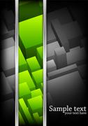 Vector background with cubes. Green color - stock illustration