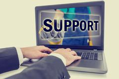 businessman contacting online support - stock photo