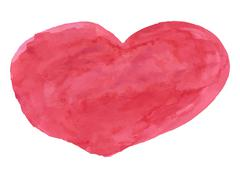 Red watercolor heart - stock illustration