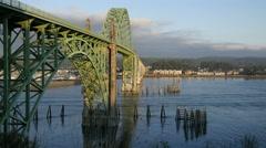 Oregon Bridge above bay at Newport 4kp Stock Footage