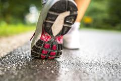 closeup of runner feet - stock photo