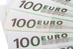 Stock Photo of close up of euro banknotes