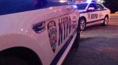 NYPD - New York Police Department Car at Scene of Crime - stock footage