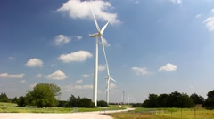 Several wind turbines in a row Stock Footage