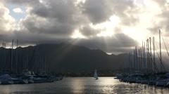 Sailboat, at sunset, kaneohe bay, oahu, hawaii. Stock Footage