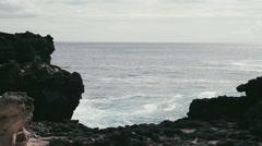 1080p, shore line, coast line, hawaii with big waves Stock Footage