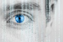 futuristic image with matrix texture - stock photo