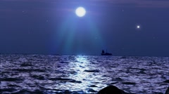 Ship sails under the moon in magical night on Koh Samui Stock Footage
