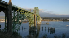 Oregon Bridge at Newport with small boats 4kp Stock Footage
