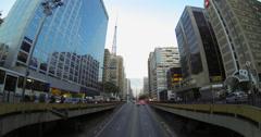Paulista avenue, Sao Paulo, Brazil. Traffic and skyscrapers. Cityscape - 4K Stock Footage