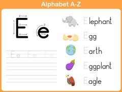 Alphabet Tracing Worksheet: Writing A-Z Stock Illustration