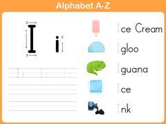 Alphabet Tracing Worksheet: Writing A-Z - stock illustration