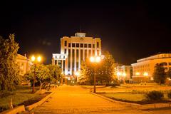 Administrative building, night landscape, city kazan, russia Stock Photos
