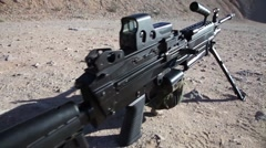 Belt Fed Machine Gun M249 SAW pan Stock Footage