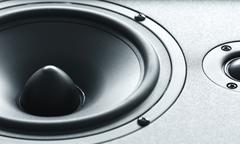 huge black bass speaker with high quality membrane - stock photo