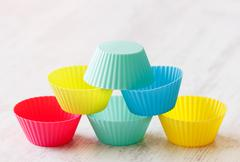 pyramid made from silicon muffin cups - stock photo