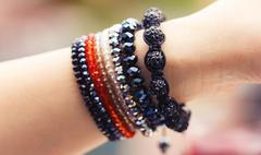 Trendy handmade bracelets Stock Photos