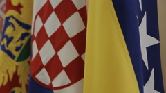 Flags of Bosnia, Croatia, Serbia and Montenegro Stock Footage