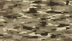Camouflage pattern background loop. Desert brown, beige camo colors. - stock footage