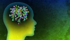 The Creative Brain. A network of growing flowers and vines inside a head. - stock footage