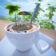 Coffee cup vacation relaxing concept composition with palm and chair Stock Illustration