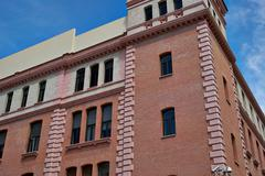 buildings with lace fronts of city madrid - stock photo