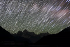 4K. Time lapse of stars behind mountain Thamserku, Kantaiga Stock Footage