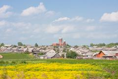 Rural landscape with an orthodoxy church Stock Photos