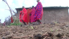 Men Masai dancing the national dance. Kenya. Stock Footage