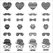 Hipster vintage icon with aztec pattern background Stock Illustration