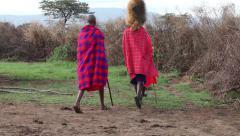 Maasai warriors hunt the beast. - stock footage