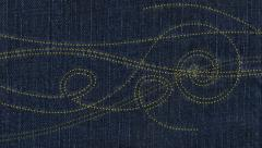 Embroidery sewing. Stitching on denim. Loop from 14 seconds onward Stock Footage