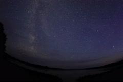4K. Starry sky over the lake Moiseevskoe, Valdaysky district,  Stock Footage