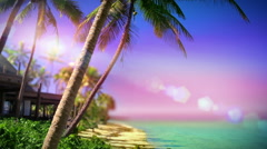 Fiji paradise loop. Romantic tropical island resort by a beach. Stock Footage