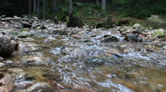 Pure, clean water flowing in a mountain stream Stock Footage