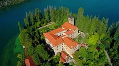 Monastery Visovac, aerial shot Stock Footage