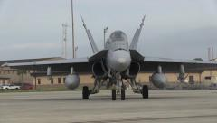 US Navy Marine Fighter Aircraft Rolls On Airfield Stock Footage