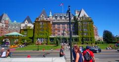 4K Empress Hotel Victoria Tourists on SIdewalk, Victoria Canada Stock Footage