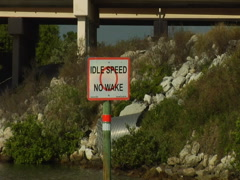 "Sign ""Idle Speed No Wake"" 02 - stock footage"