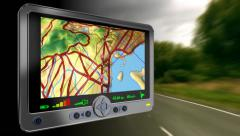 GPS (global positioning system) road map loop. Fast motion driving background. Stock Footage