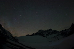 4K. Time lapse of stars behind mountains Pharilapche peak Stock Footage