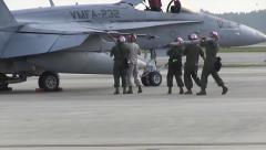 US Navy Marine Fighter Crew Installs Rocket Stock Footage