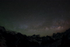 4K. Time lapse of stars behind mountains Everest, Lhotse and Makalu from Gokyo R Stock Footage