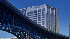 4K Flats East Bank Ernst and Young Tower Cleveland Establishing Shot Stock Footage