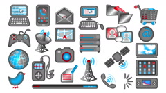 Set of 25 Communications icons, looping, with mattes. Stock Footage