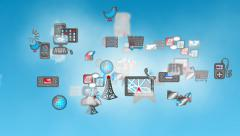 Cloud Computing Loop. Digital devices and communication icons in a cloud Stock Footage